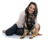 Woman and malinois. In front of white background Stock Image
