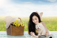 Woman with maltese dog on the meadow. Portrait of pretty young woman reading a book with maltese dog and picnic basket on mat on the meadow Royalty Free Stock Photos