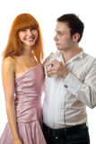 Woman with man. Smiling redheaded woman with young handsome man. Isolated Stock Photo