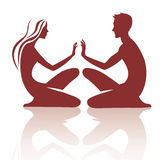 Woman and man. Vector image of silhouette the sitting young woman and man Royalty Free Stock Photos