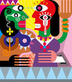 Woman and man abstract vector illustration Royalty Free Stock Photography