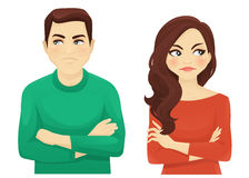 Woman and man angry emotion. Looking away vector illustration
