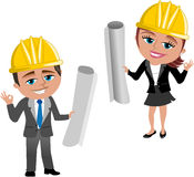 Woman and Man Architect Ok. Illustration featuring smiling cartoon architect Meg and Bob with helmet and Ok hand gesture holding blueprint isolated on white Stock Photo