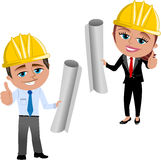 Woman and Man Architect or engineer with Thumb Up Isolated. Illustration featuring smiling cartoon architect Meg and Bob with helmet and thumb up holding Stock Photography