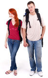 Woman and man with backpacks Royalty Free Stock Images