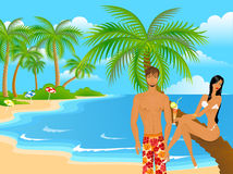 Woman and man on a beach. The beautiful young woman in a bathing suit and the man on a beach Stock Illustration