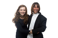 Woman and man in black jacket laughing Royalty Free Stock Image