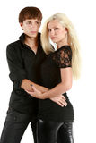 Woman and man in black shirts Royalty Free Stock Photo