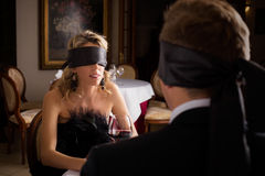 Woman and Man at blind date. Getting to know each other royalty free stock photography