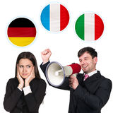 Woman, man and bubbles with countries flags. Young women and men surrounded by dialogue bubbles with countries flags. Germany,  Italian, Czech. Learning of Stock Images