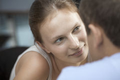 Woman With Man In Cafe Stock Photo