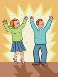 Woman and man celebrating! Royalty Free Stock Photography