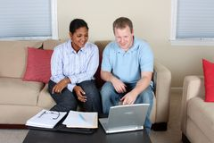 Woman And Man At Computer Stock Images