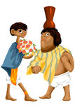 Woman man couple African character cartoon  illustration Royalty Free Stock Images