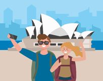 Woman and man couple with backpack taking a picture stock illustration