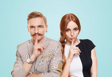 Woman and man, couple keep secret Royalty Free Stock Images
