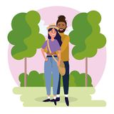 Woman and man couple with trees and bushes royalty free illustration