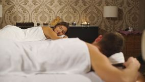 A woman and a man during a couples massage stock video footage
