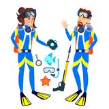 Woman And Man In Diving Masks Vector. Isolated Illustration vector illustration