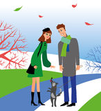 Woman and man with dog Stock Images