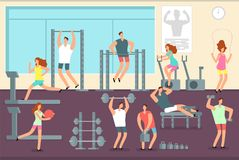 Woman and man doing various sports exercises in gym. Fitness indoor workout vector concept. Gym and fitness sport training, woman man workout or exercise Royalty Free Stock Image