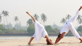 Woman and man doing yoga. An attractive young woman and man doing yoga, Goa, India stock video footage