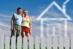 Woman man and dream house Stock Photos