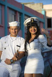 Woman and man dressed as sailors and celebrating carnaval Royalty Free Stock Photo