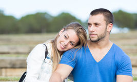 Woman and man embracing Stock Photo