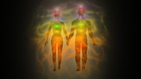 Woman and man energy body, aura, chakras stock footage