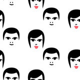 Woman and man faces hipster vector seamless pattern. Stock Image