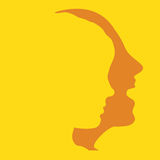 Woman and man faces profiles. Art vector illustration Royalty Free Stock Images