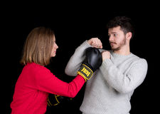 Woman and man fighting Royalty Free Stock Photo