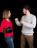 Woman and man fighting Royalty Free Stock Image