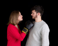 Woman and man fighting Stock Photos