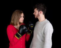 Woman and man fighting Stock Photography