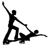 Woman and man figure skaters. Silhouette of professional woman and man figure skaters Royalty Free Stock Image