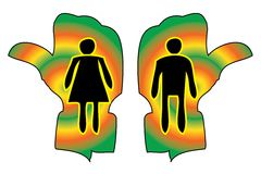 Woman and Man Figure on Toilet Guided Handy Sign. Show direction Stock Photography