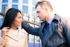 Woman and man flirting outdoors Royalty Free Stock Photos