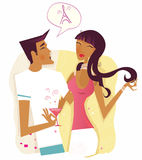 Woman and man flirting and talking about Paris Royalty Free Stock Image