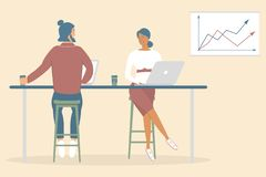 Woman and man friends or colleagues sitting at desk in modern office,working at notebook and tablet,have coffee, talking.Effective stock illustration