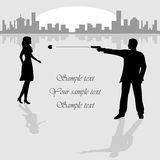 Woman and man with gun. On City background, illustration Stock Photo
