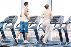 Woman and man at the gym exercising. Stock Images