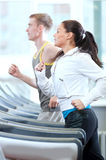 Woman and man at the gym exercising Royalty Free Stock Images