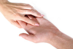 Woman and man hand shake togather Stock Images