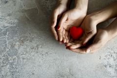 Woman and man hands holding red heart on grey background. stock photography