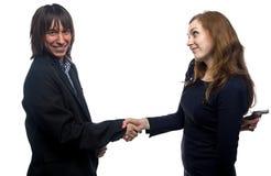 Woman, man, handshake and the gun Stock Photography
