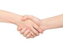 Woman and man handshaking. Stock Photo