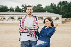 Woman and man with happy look Royalty Free Stock Image
