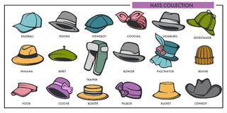 Woman and man hats models collection of retro and modern fashion type vector isolated icons. Woman and man hats models collection of retro and modern fashion royalty free illustration